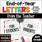 End of Year Letter from Teacher to Student & Parents Updated for 2021 Digital