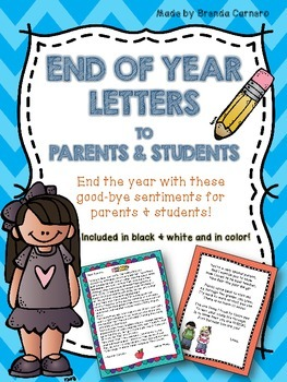 End of Year Letters to Parents and Students