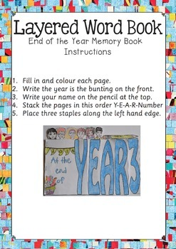 End of Year Level Layered Word Book - Year 3 to 7