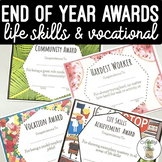 End of Year Life Skills & Vocational Awards for Special Education Classroom