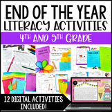 End of Year Activities for 4th and 5th Grade | End of the Year Literacy