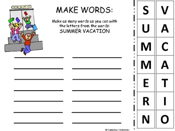 End of Year MAKING WORDS (Summer Themed)