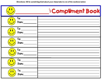 Classroom Managaement -Compliment  MINI-BOOK KEEPSAKE