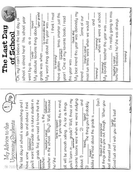 End of Year Mad Libs Writing Activity