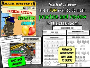 5th Grade End of the Year Math Review: Case of The Graduation Gremlins