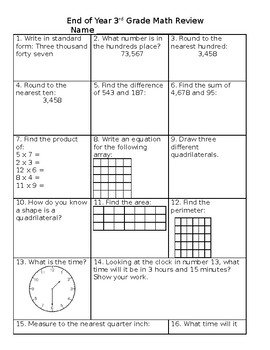 End of Year Math 3rd Grade Review