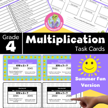End of Year Activities for 4th Grade - Math Task Cards - Multiplication