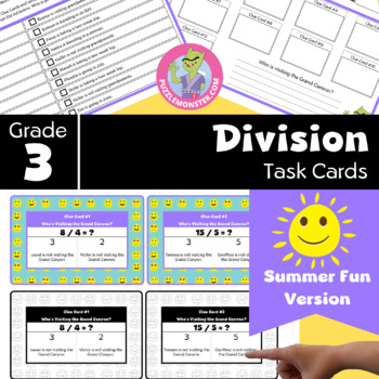 End of Year Activities for 3rd Grade - Math Task Cards - Division