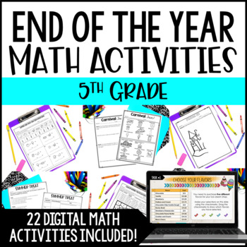 End of Year Math Activities   5th Grade End of the Year Math