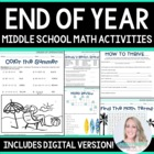 End of Year Activities : Middle School Math