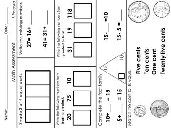 End of Year Math Assessment 1st grade