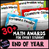 End of Year Math Awards for Every Student