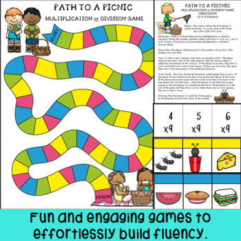 End of Year Math Fact Fluency Games for Multiplication and Division