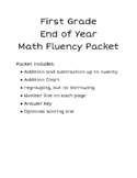 End of Year Math Fluency Packet for First Grade