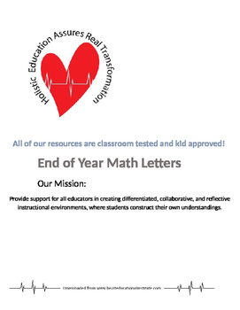 End of Year Math Letter Writing