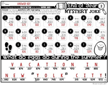 End of Year Math Mystery Jokes **Three-Digit Addition & Subtraction**