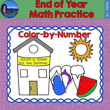 End of Year Math Practice Color by Number Grades 5-8
