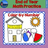 End of Year Math Practice Color by Number Grades K-4