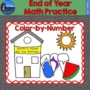 End of Year Math Practice Color by Number Grades K-8 Bundle