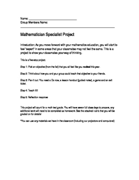 End of Year Math Project- Students are the teachers!