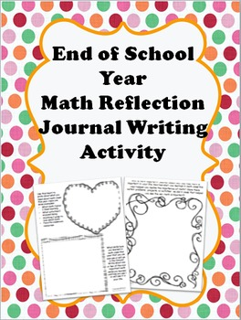 "End of Year Math Reflection Journal Writing ""What Have I Learned?"""