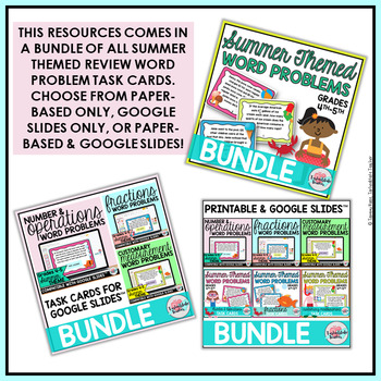 Addition Subtraction Multiplication Division Word Problems Task Cards