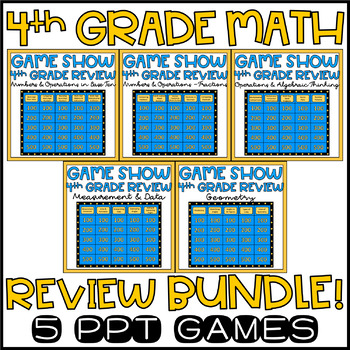 End of the Year Activities Math Review 4th Grade Game Show Bundle EDITABLE!
