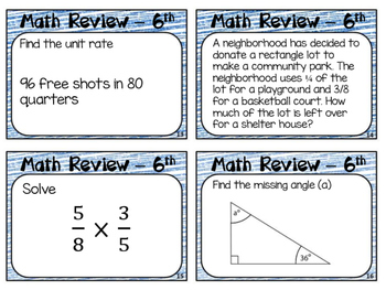 End of Year Math Review Grade 6