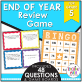 End of Year Math Review BINGO Game Grade 5