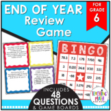 End of Year Math Review BINGO Game Grade 6
