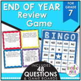 End of Year Math Review BINGO Game Grade 7