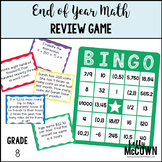 End of Year Math Review BINGO Game Grade 8