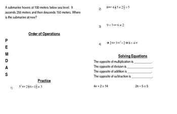 End of Year Math Review Booklet