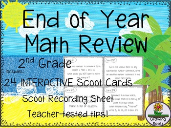 End of Year Math Review Task Cards Scoot Game - 2nd Grade!