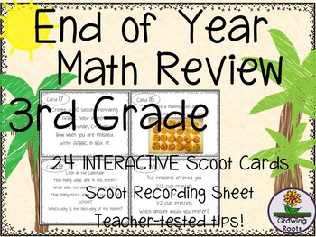 End of Year Math Review Task Cards Scoot Game - 3rd Grade!