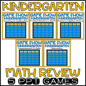 End of Year Math Review Kindergarten Math Game Show Bundle EDITABLE!