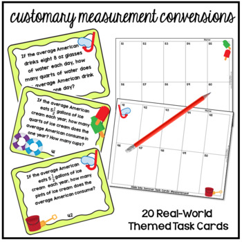 Customary Conversions Measurement Word Problems Task Cards