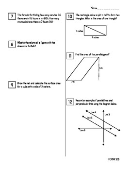 End of Year Math Review Packets #2