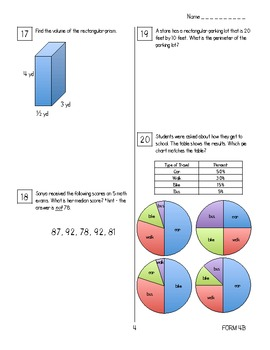 End of Year Math Review Packets #4