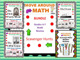 Math End of Year Review Scavenger Hunt Bundle Grades 4 5 6