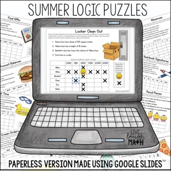 End of Year Math & Summer Math Logic Puzzles