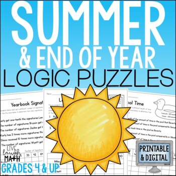 End of Year Math & Summer Math Logic Puzzles by Live Laugh Math | TpT