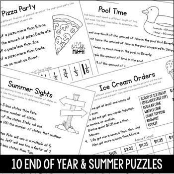 End of Year Math & Summer Math Logic Puzzles