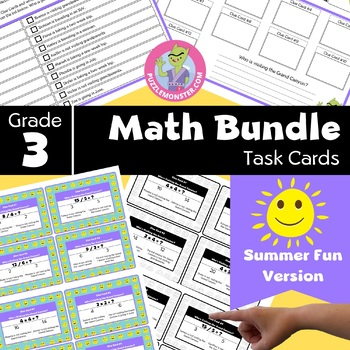 End of Year Activities for 3rd Grade - 3rd Grade Math Review Task Cards Bundle