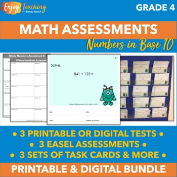 Fourth Grade Whole Number Math Task Cards - Practice and Formative Assessment
