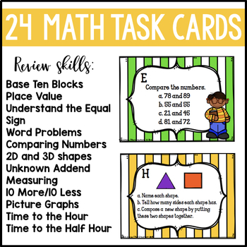 End of Year Math and ELA Task Cards Bundle (1st Grade)