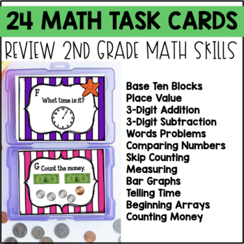 End of Year Math and ELA Review Task Cards 2nd Grade