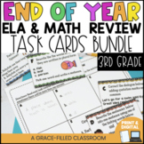 End of Year Math and ELA Review Task Cards 3rd Grade