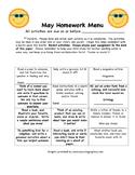 End of Year:  3rd grade May Homework Calendar Menu