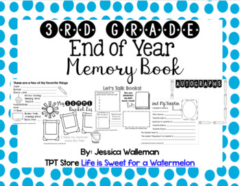 End of Year Memory Book - 3rd Grade
